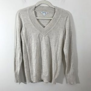 Odeon merino wool oatmeal v-neck sweater large